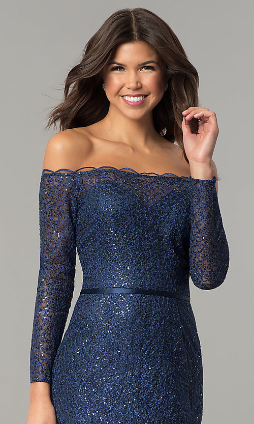 Image of off-the-shoulder navy blue prom dress. Style: DJ-A5840 Detail Image 1