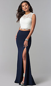 Lace Top Two-Piece Long Prom Dress