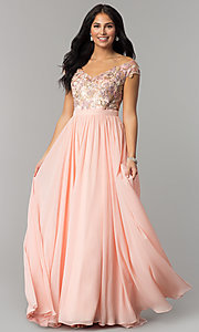 Embroidered Bodice Long Prom Dress