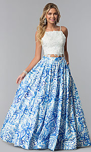 Image of lace-bodice two-piece a-line print prom dress. Style: DJ-3103 Front Image