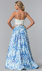 Image of lace-bodice two-piece a-line print prom dress. Style: DJ-3103 Back Image