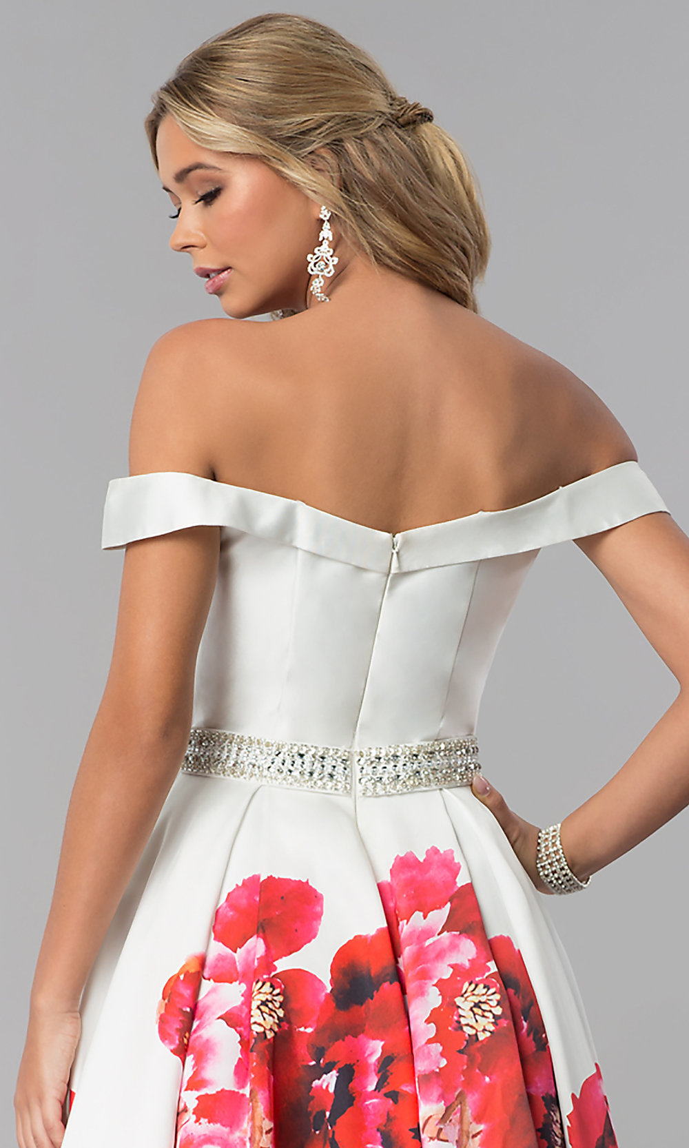 Sweetheart Floral Print A Line Prom Dress Promgirl
