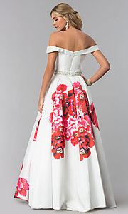 Image of floral-print a-line prom dress by Dave and Johnny. Style: DJ-A5604 Back Image