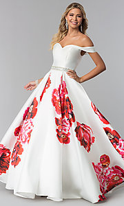 Image of floral-print a-line prom dress by Dave and Johnny. Style: DJ-A5604 Front Image