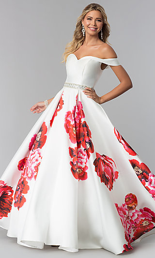 132c250c18 Floral-Print A-Line Prom Dress by Dave and Johnny