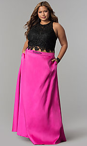 Long Two-Piece Lace Top Plus Size Prom Dress
