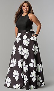 Plus Size High Neck Halter Long Print Prom Dress