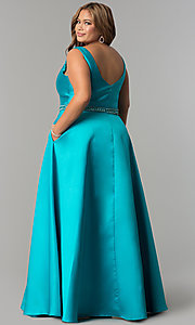 Image of long satin v-neck plus-size prom dress with pockets. Style: SC-SC7242 Back Image