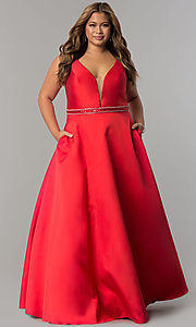 Image of long satin v-neck plus-size prom dress with pockets. Style: SC-SC7242 Detail Image 2