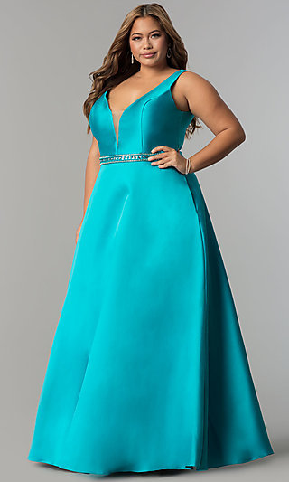 4f1f6e8d84b Long Satin V-Neck Plus-Size Prom Dress with Pockets. Share