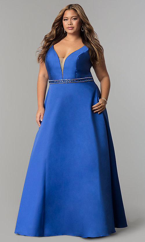 Image of long satin v-neck plus-size prom dress with pockets. Style: SC-SC7242 Detail Image 3