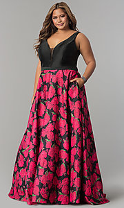 V-Neck Sleeveless Plus-Size Prom Dress
