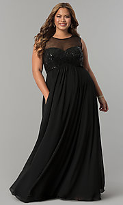 Empire-Waist Long Plus Prom Dress