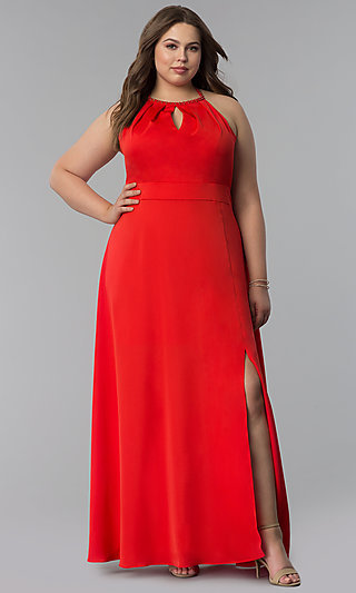 Pleated Keyhole Neckline Long Plus-Size Prom Dress