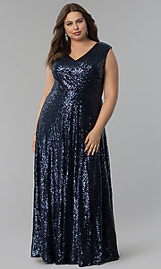 Sequin Long V-Neck Plus-Size Prom Dress