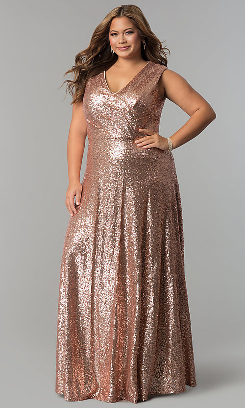 Long Sequin Plus-Size Prom Dress - PromGirl