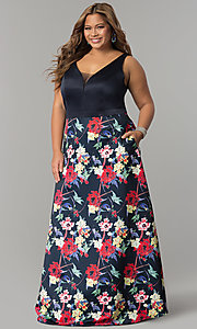 Long Floral Print Plus Size V-Neck Prom Dress