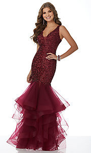 Long Embroidered Mermaid-Style Prom Dress