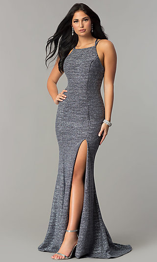High-Neck Long Prom Dress with an Open Back