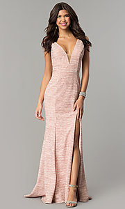 Long Glitter Knit Prom Dress by Dave and Johnny