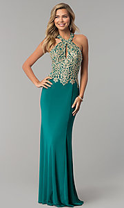 Image of long formal evening halter dress by Dave and Johnny. Style: DJ-A6046 Detail Image 3