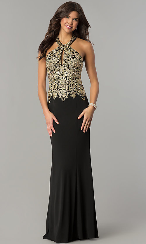 Image of long formal evening halter dress by Dave and Johnny. Style: DJ-A6046 Detail Image 2