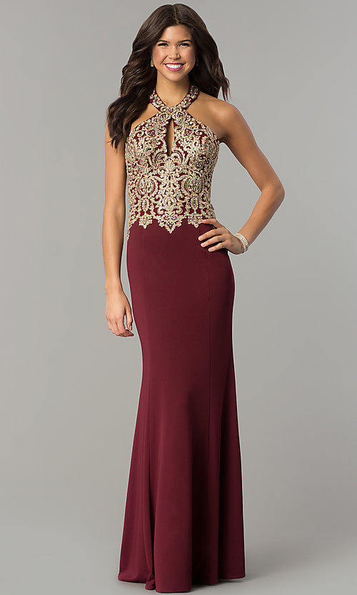 Image of long formal evening halter dress by Dave and Johnny. Style: DJ-A6046 Front Image