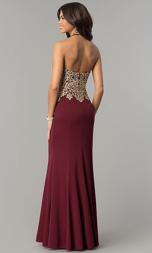Image of long formal evening halter dress by Dave and Johnny. Style: DJ-A6046 Back Image
