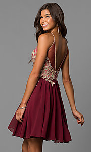 Image of high-neck a-line navy blue homecoming dress. Style: DJ-A6226n Back Image