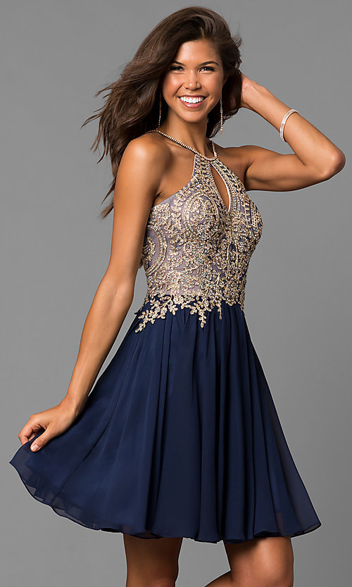 Image of high-neck a-line navy blue homecoming dress. Style: DJ-A6226n Front Image