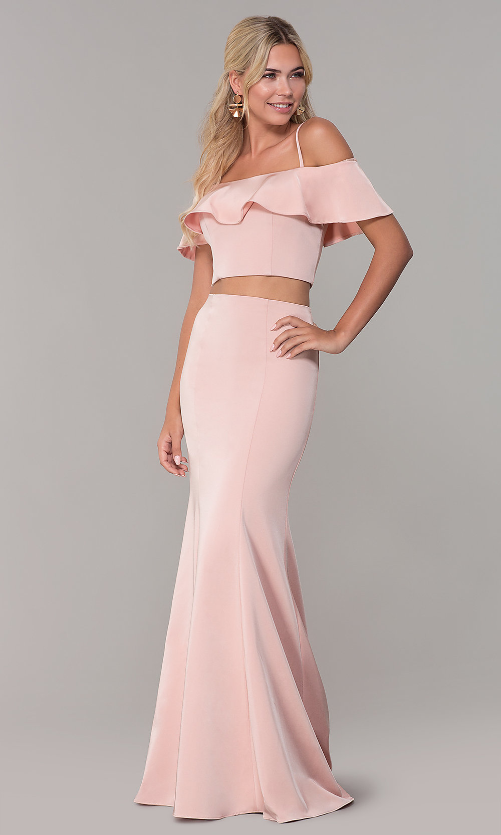 1253bd5ccd2 Image of off-the-shoulder two-piece prom dress with ruffle. Style. Tap to  expand