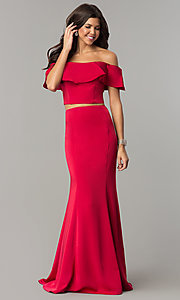 Image of off-the-shoulder two-piece prom dress with ruffle. Style: DJ-A3416 Detail Image 2