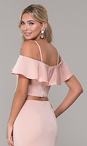 Image of off-the-shoulder two-piece prom dress with ruffle. Style: DJ-A3416 Detail Image 7