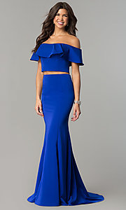 Image of off-the-shoulder two-piece prom dress with ruffle. Style: DJ-A3416 Front Image