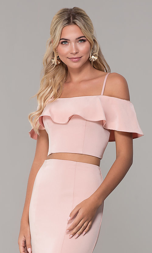 Image of off-the-shoulder two-piece prom dress with ruffle. Style: DJ-A3416 Detail Image 6