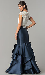 Image of white and navy two-piece evening dress. Style: TE-7025N Back Image