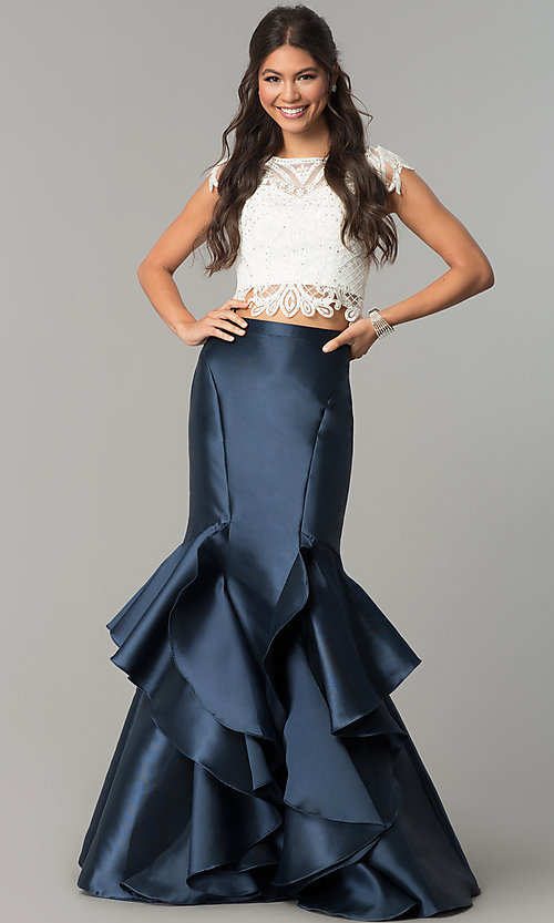 Image of white and navy two-piece evening dress. Style: TE-7025N Front Image