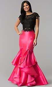 Long Two-Piece Lace Top Mermaid Prom Dress