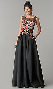 Black Long Prom Dress with Embroidered Bodice