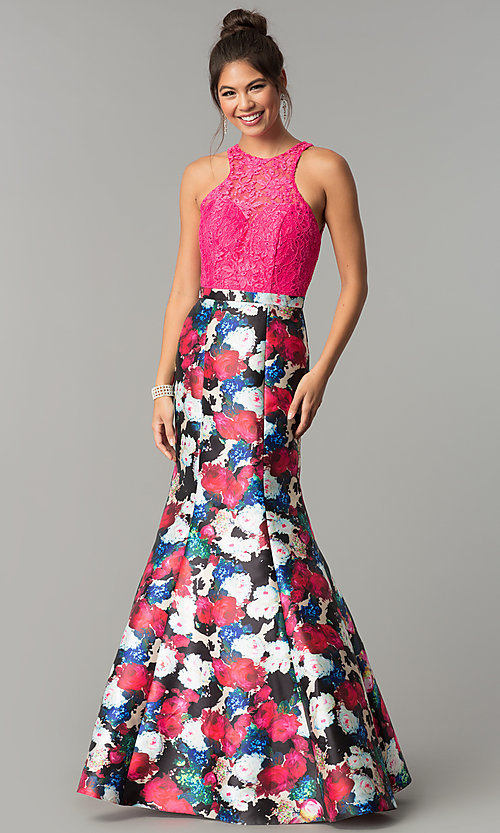 Image of floral-print mermaid formal prom dress with lace. Style: TE-7036 Front Image
