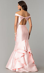 Image of off-the-shoulder long mermaid formal prom dress.  Style: TE-7126 Back Image