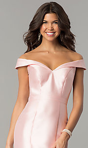 Image of off-the-shoulder long mermaid formal prom dress.  Style: TE-7126 Detail Image 2