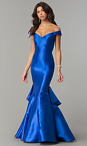 Image of off-the-shoulder long mermaid formal prom dress.  Style: TE-7126 Front Image