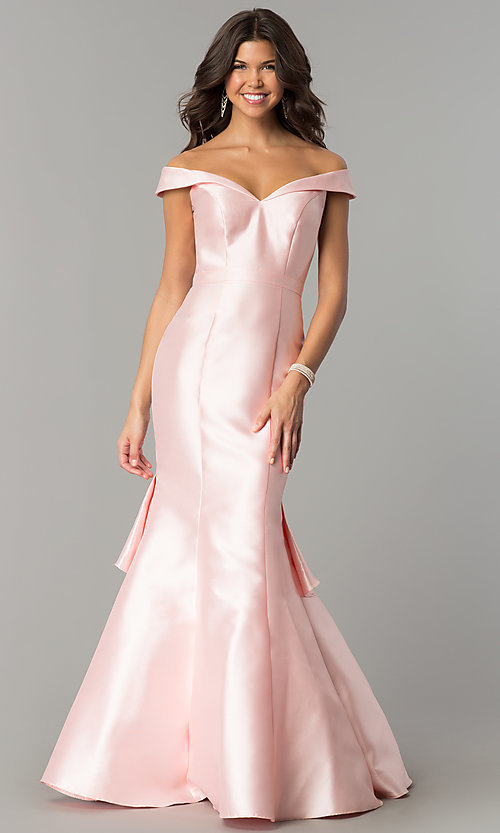 Image of off-the-shoulder long mermaid formal prom dress.  Style: TE-7126 Detail Image 1
