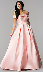 Image of off-the-shoulder ball-gown-style prom dress. Style: TE-7128 Front Image