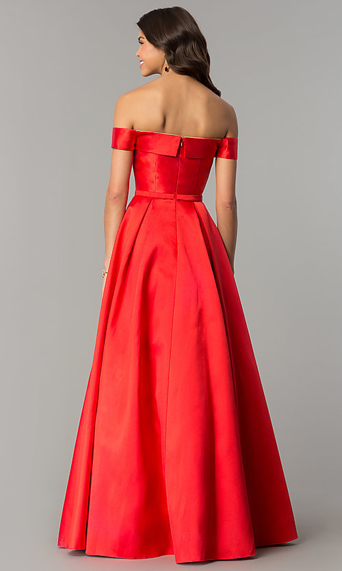 Image of off-the-shoulder ball-gown-style prom dress. Style: TE-7128 Back Image