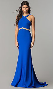 Long Open Back Prom Dress with Bustle