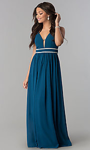 Long V-Neck Empire-Waist Prom Dress