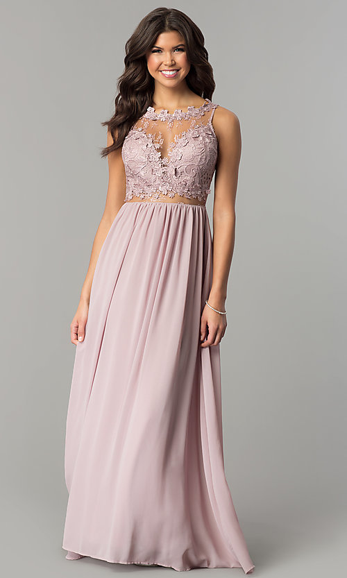 Image of long high-neck prom dress with lace bodice. Style: SOI-M17343 Front Image