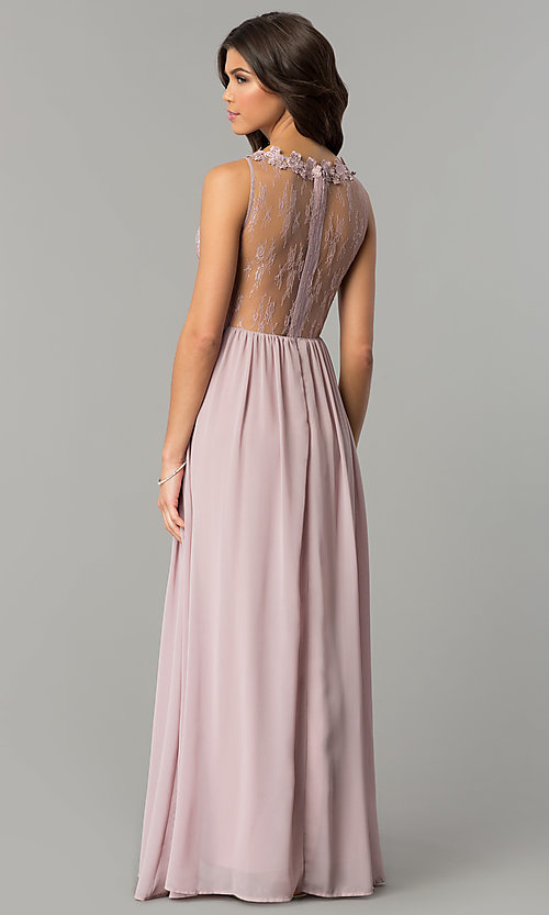 Image of long high-neck prom dress with lace bodice. Style: SOI-M17343 Back Image